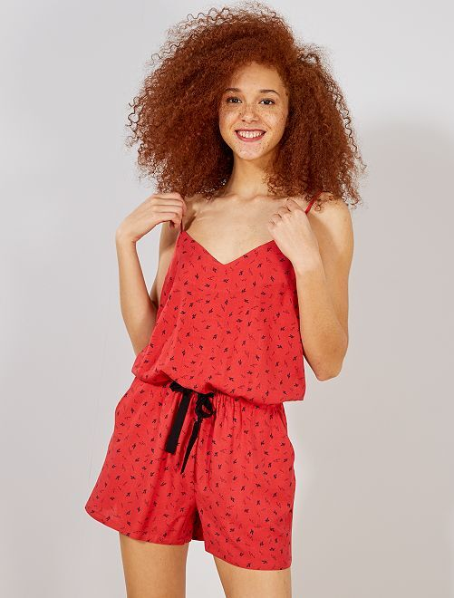 Combishort imprimé fleuri                     rouge Femme