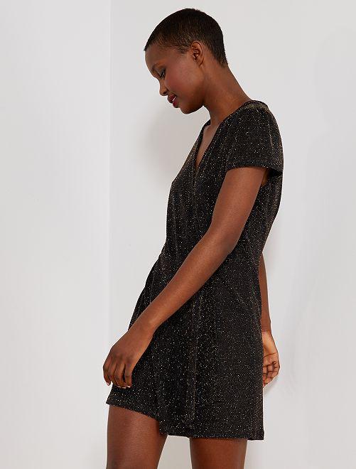 Combishort pailleté maille stretch                             noir/doré Femme