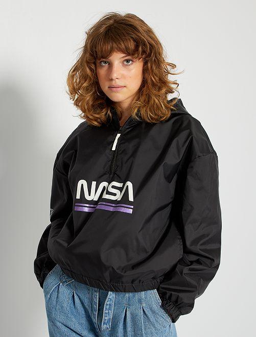 Coupe-vent à capuche étanche 'NASA'                             noir