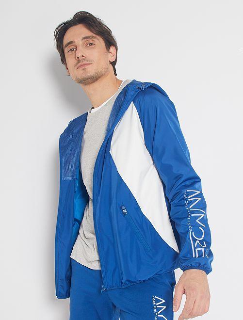 Coupe-vent colorblock éco-conçu                     bleu/blanc