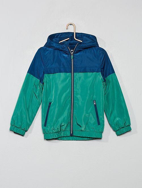 Coupe-vent doublé polaire                                         bleu/vert