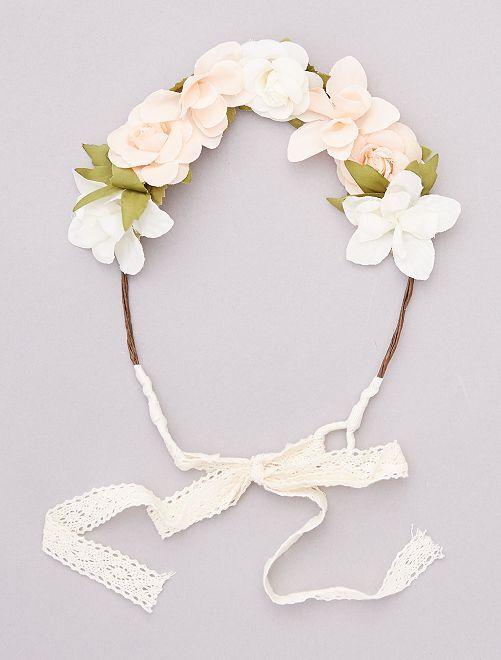 Couronne de fleurs avec ruban                                         beige