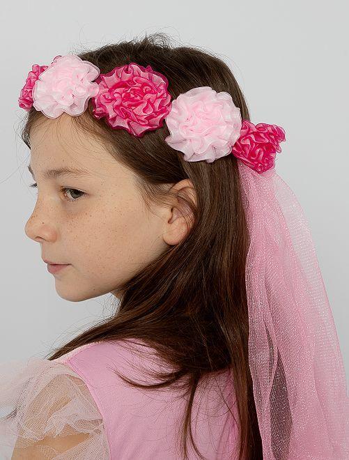 Couronne de fleurs avec voile                             rose