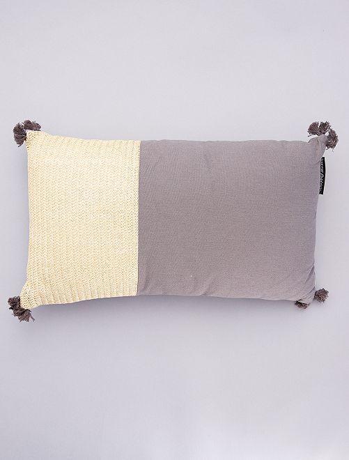 Coussin à pompons déhoussable                                                     beige/gris