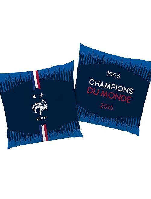 Coussin 'Champion du Monde'                             bleu Linge de lit