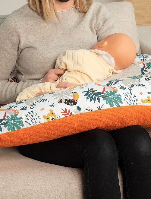 Coussin de maternité déhoussable                                                                                                     blanc/orange