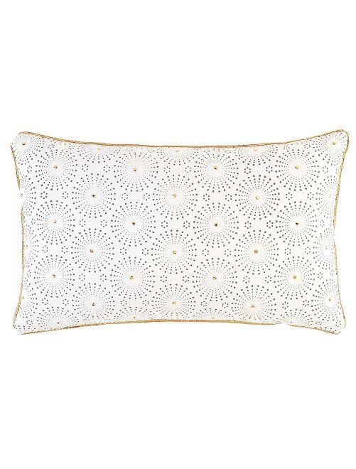 Coussin doré déhoussable                                         blanc/doré rectangle