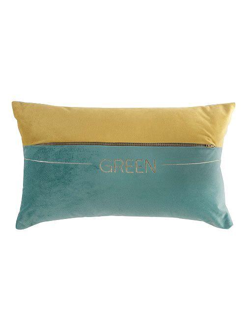 Coussin en velours bicolore                             vert/bleu