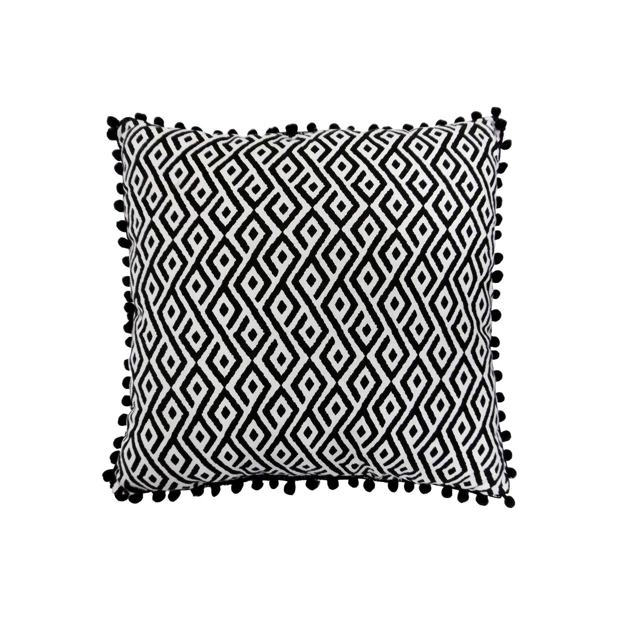 coussin graphique d houssable linge de lit noir blanc kiabi 10 00. Black Bedroom Furniture Sets. Home Design Ideas
