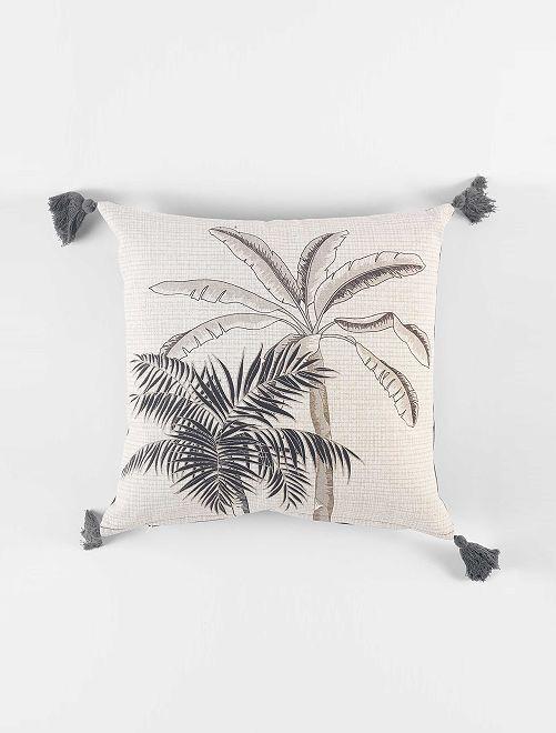 Coussin 'palmier'                             blanc/gris foncé