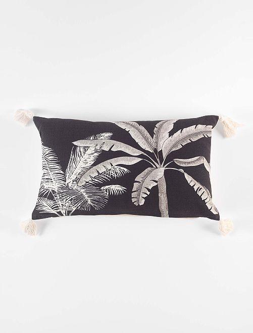 Coussin 'palmier'                             gris foncé/beige