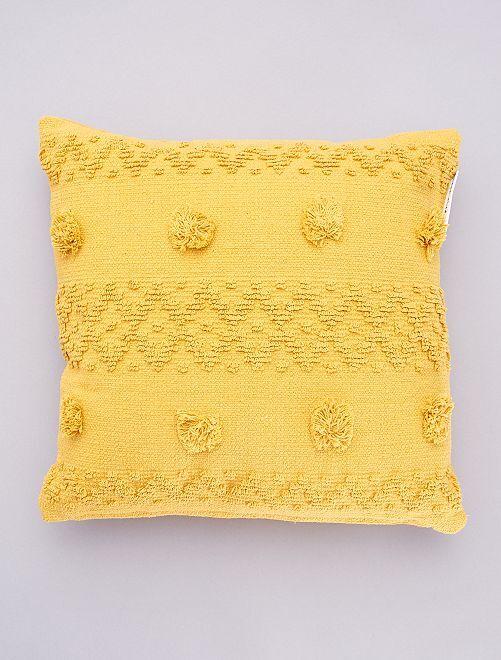 Coussin pompons en relief                                         jaune