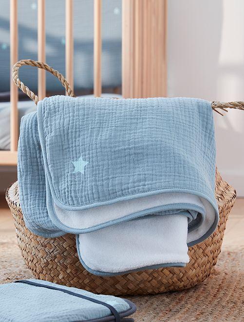 Couverture en gaze de coton                                         bleu
