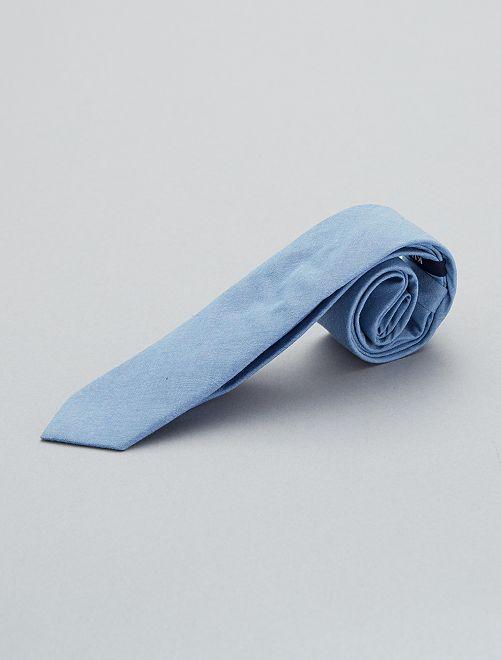 Cravate en coton                             bleu Homme