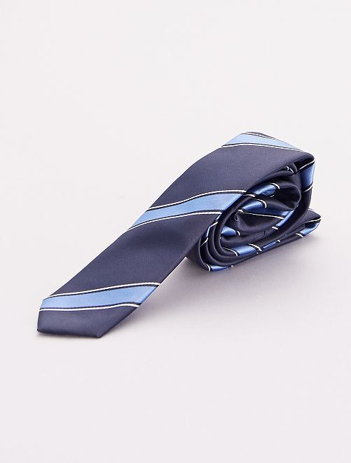 Cravate rayée                             bleu marine