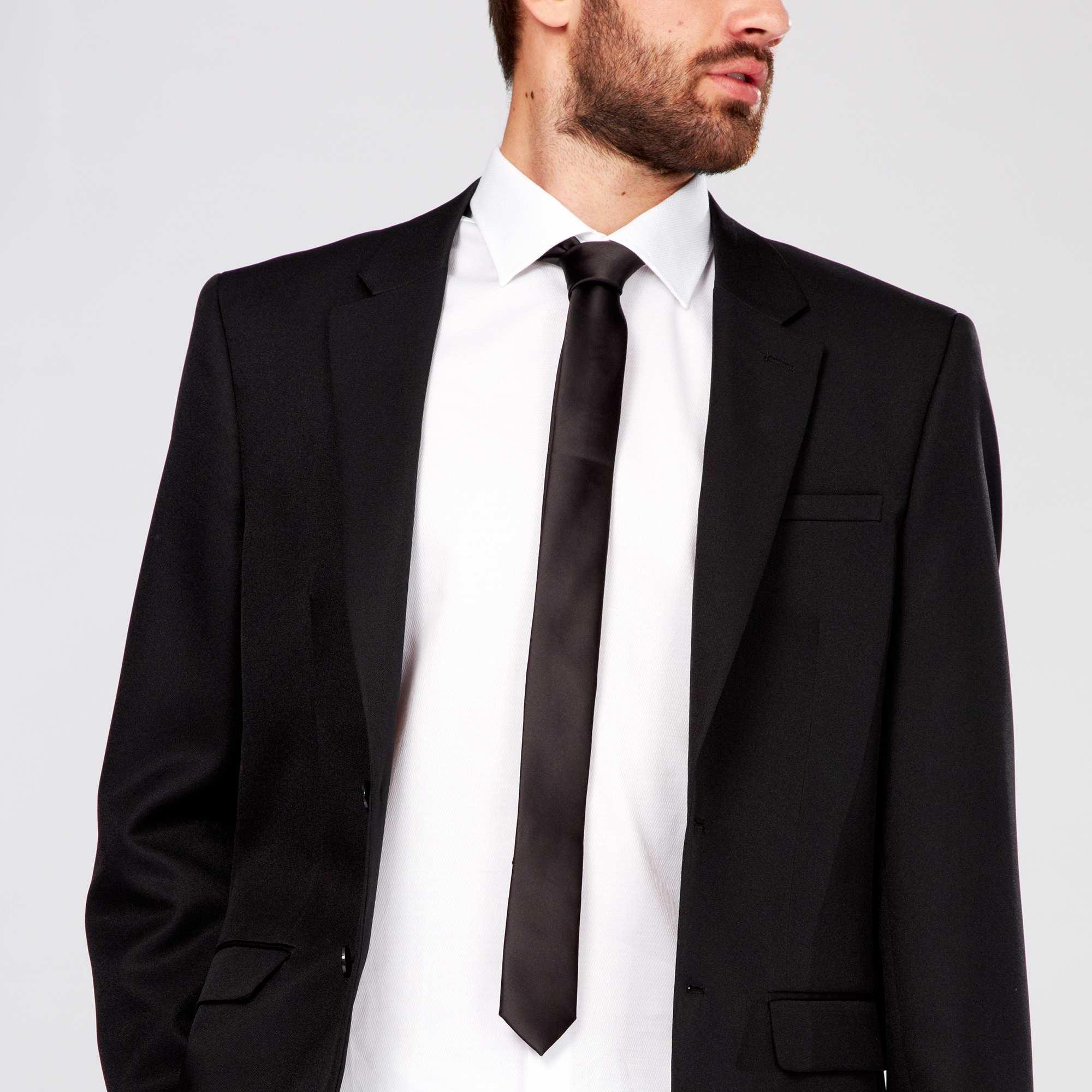 Cravate satin uni homme noir kiabi 3 50 - Cravate noire homme ...