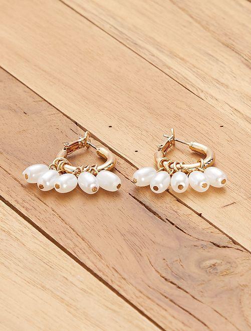 Créoles dorées avec perles                             doré
