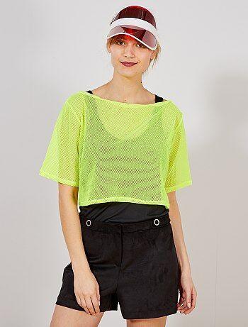 Femme - Crop top en résille fluo - Kiabi edd8dcfea42