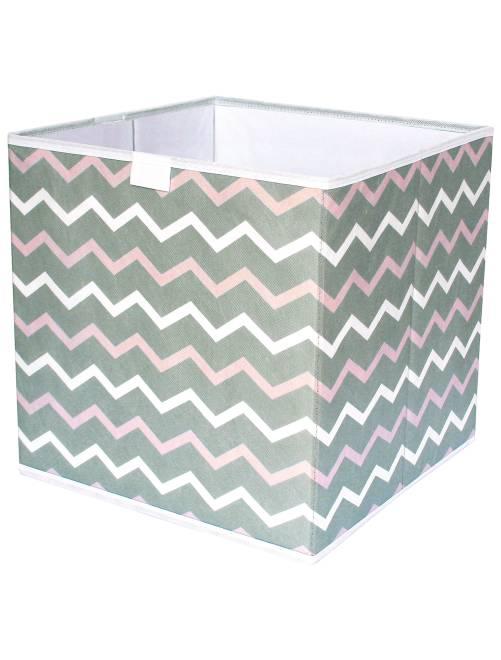 Cube de rangement pliable imprimé 'zigzag'                                         blanc/rose/taupe Linge de lit