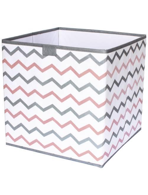 Cube de rangement pliable imprimé 'zigzag'                                         gris/rose/blanc