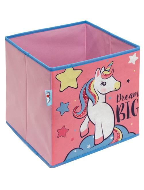 Cube de rangement pliable 'licorne'                             rose