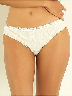 Culotte, shorty, string beige - Culotte coton galons dentelle