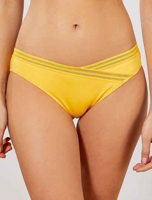 Culotte de bain détails ajourés                                                     jaune Femme