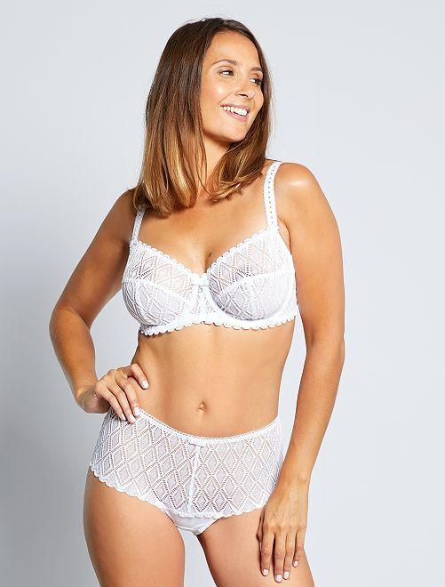 Culotte haute en dentelle 'Bestform'                             blanc