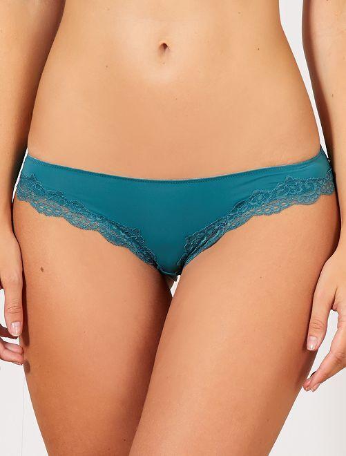 Culotte micro et dentelle                                         bleu lagon Lingerie du s au xxl