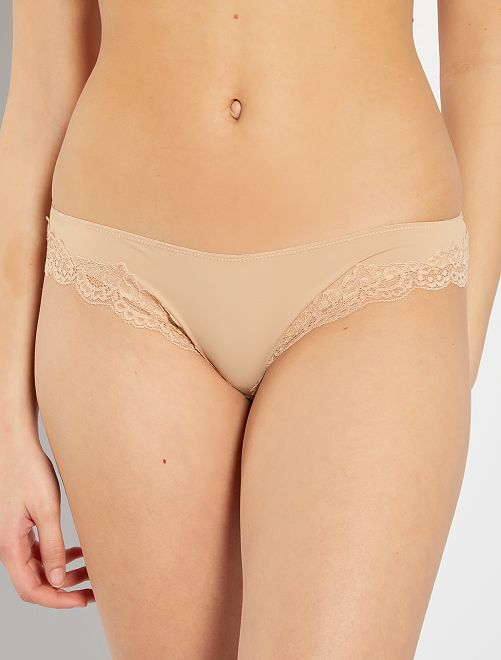 Culotte microfibre bords dentelle                                         beige