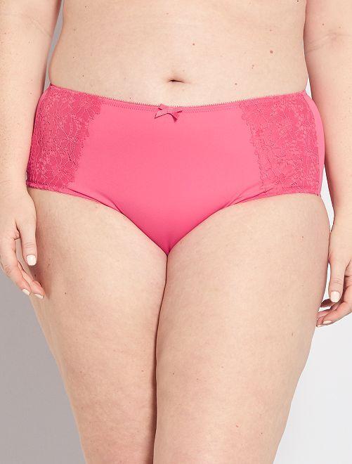 Culotte taille haute avec dentelle                                                                             rose