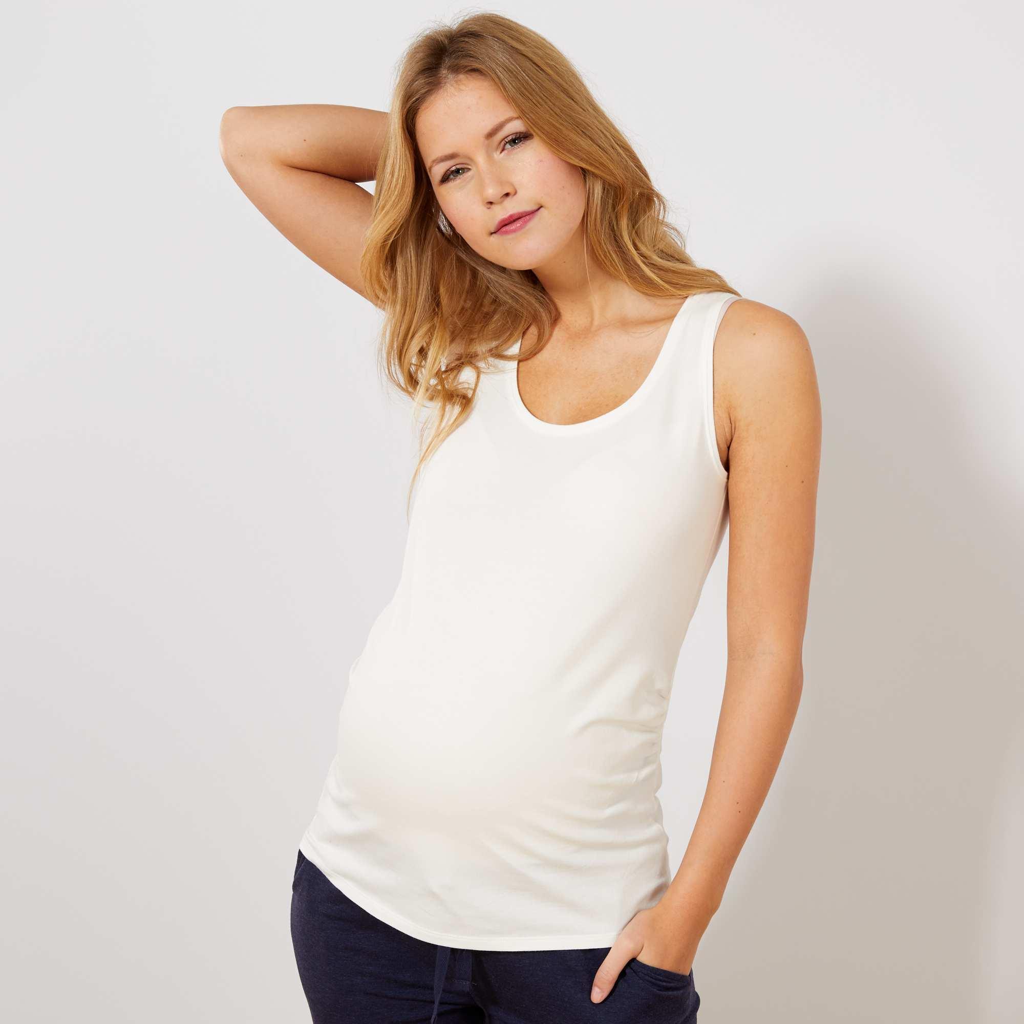 Couleur : noir, blanc, bleu,vert, - Taille : 46/48, 42/44, 34/36,38/40,Le bon basique à mixer à volonté ! - Débardeur de grossesse - Larges bretelles -
