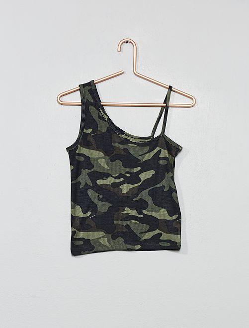 Débardeur asymétrique imprimé 'camouflage'                                         kaki camouflage