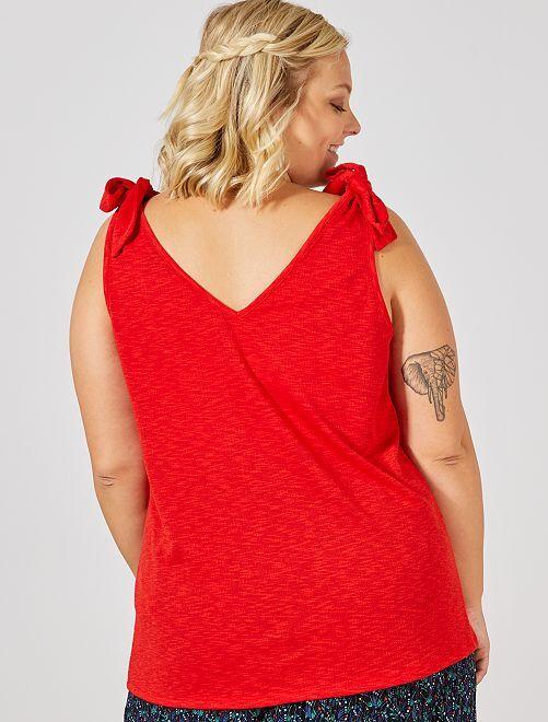 Débardeur avec bretelles nouées                                                                 rouge Grande taille femme