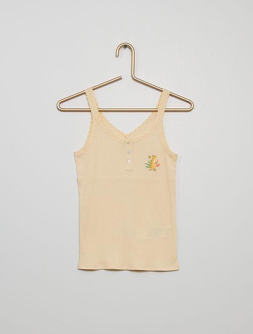 Débardeur de pyjama en côte                                         beige