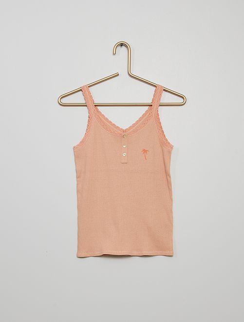 Débardeur de pyjama en côte                                         rose