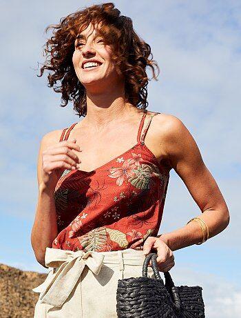 52cd99f5998c Femme du 34 au 48 - Débardeur en lin à fines bretelles - Kiabi