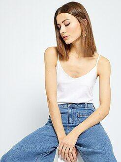 T-shirt, débardeur blanc - Débardeur fines bretelles