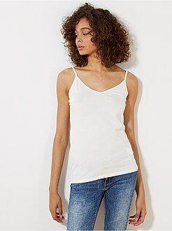T-shirt, débardeur blanc - Débardeur fines bretelles stretch