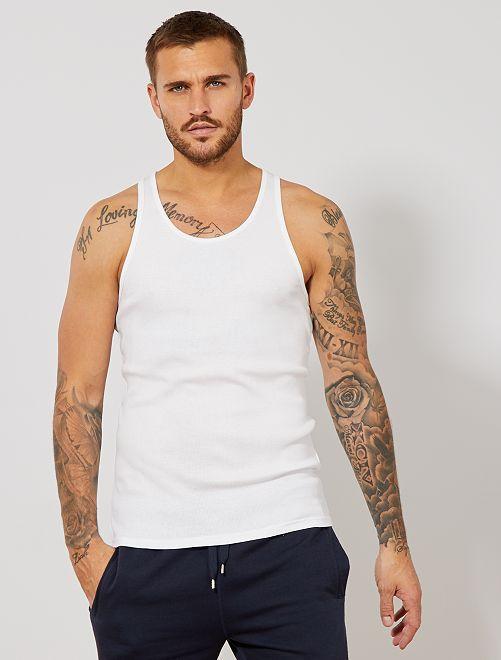Débardeur fitted uni en coton                                                                 blanc Homme