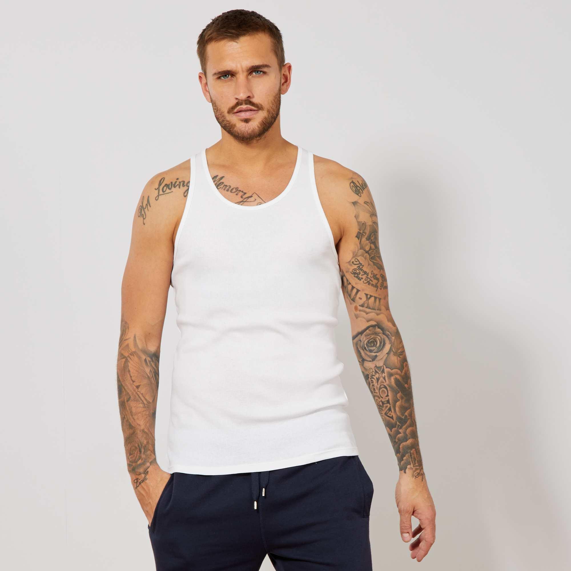 84ac720dd879c Débardeur fitted uni en coton Homme - blanc - Kiabi - 4