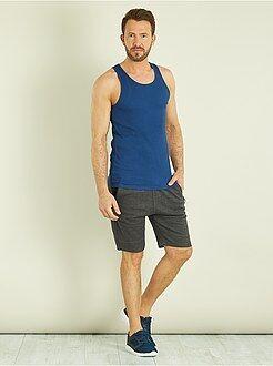 T-shirt - Débardeur fitted uni en coton - Kiabi