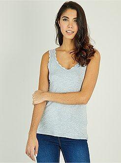 T-shirt, débardeur gris - Débardeur fluide dentelle - Kiabi