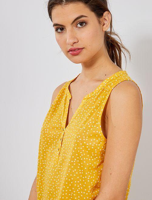 Débardeur imprimé col tunisien                                                     jaune Femme