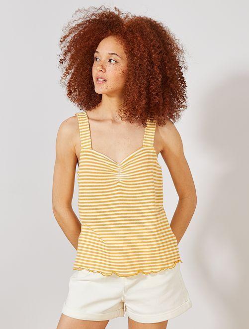 Débardeur maille rayée aspect tricot                                                                 jaune