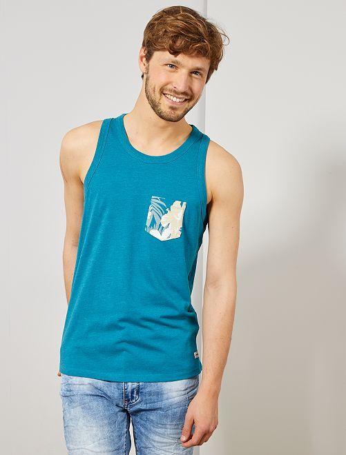 Débardeur poche poitrine 'Produkt'                                         bleu canard