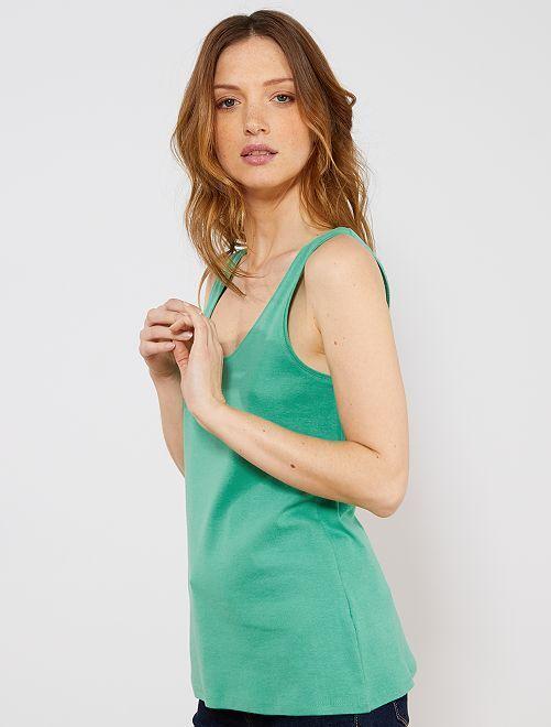 Débardeur stretch                                             vert Femme