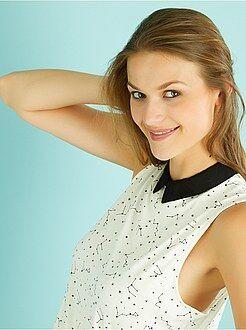 Femme du 34 au 48 Débardeur viscose col chemise