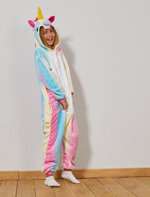 Déguisement combinaison licorne                             multicolore Enfant