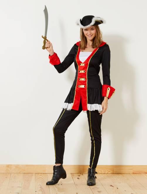 Déguisement de corsaire                             noir/rouge Femme